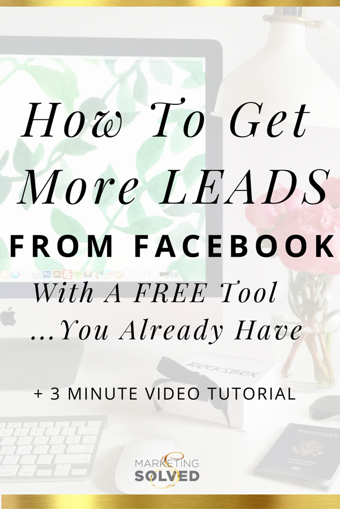 How to get more leads from Facebook with a Free tool you already have. 3 minute facebook video tutorial