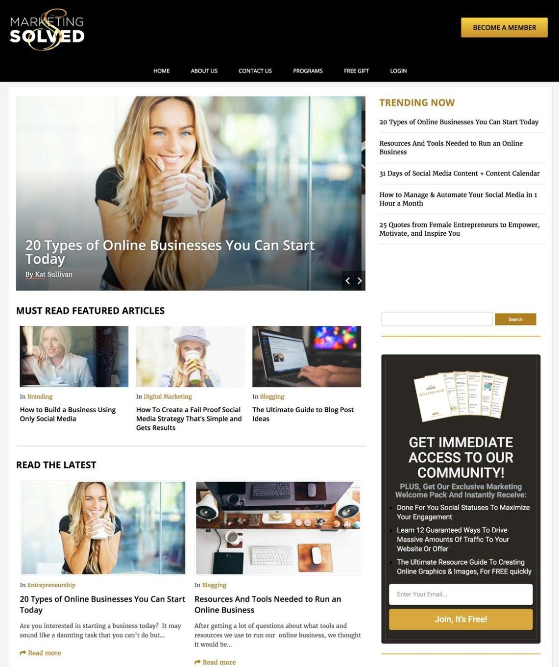 Marketing Solved Website - Blog