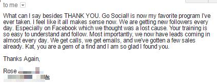 Go Social! Testimonial