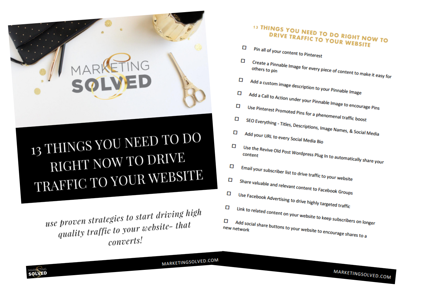 13 Things You Need to Do Right Now to Drive Traffic To Your Website Checklist - Marketing Solved