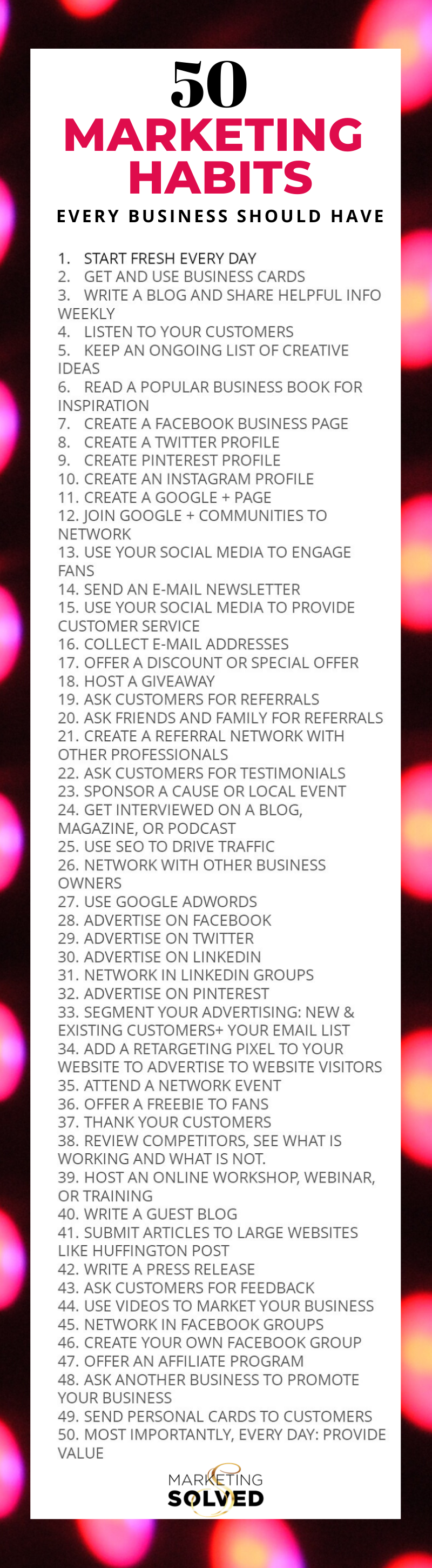 50 Marketing Habits Every Business Should Have // Marketing Ideas // Marketing Tips