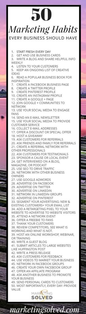50 Marketing Habits Every Business Should Have // Marketing // Business Marketing // Marketing Ideas // #Marketing