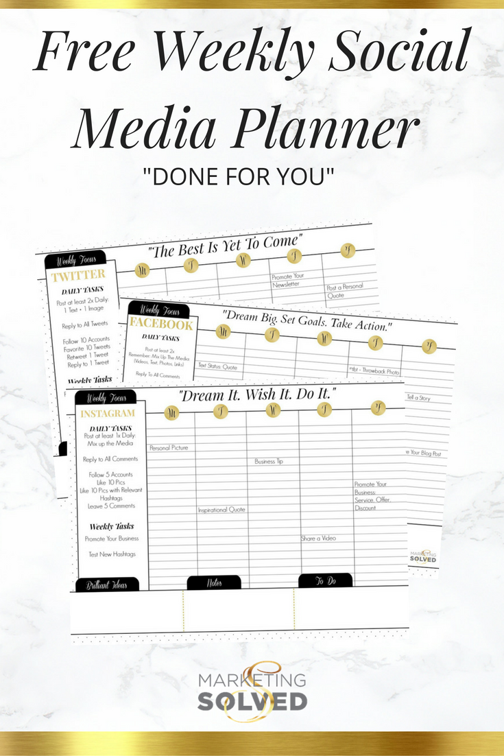 Weekly Social Media Planner Marketing Solved
