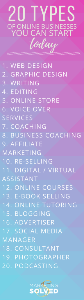 20 Online Business You Can Start Today // Types of Online Business // Online Business Ideas // Types Online Business // Easy Online Businesses // Easy Online Business Ideas // Online Business Tips // Online Business Opportunities // Starting Online Business