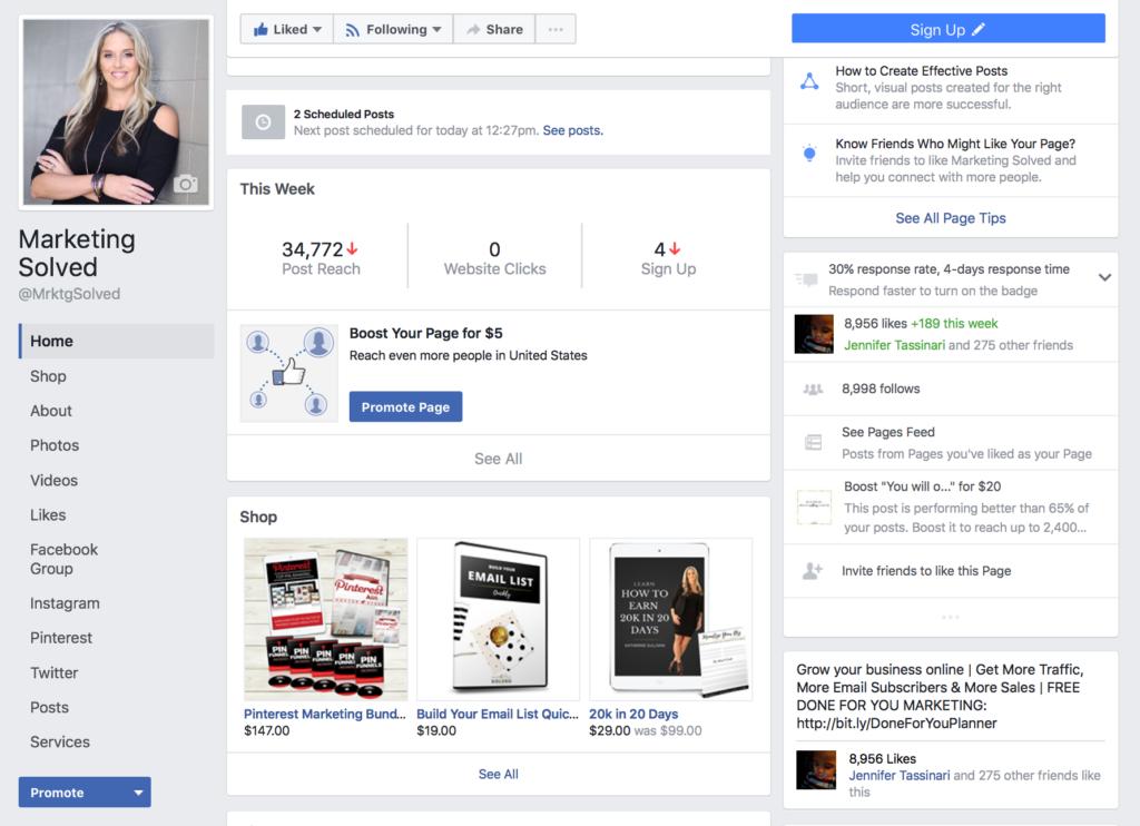 Facebook Page Shop
