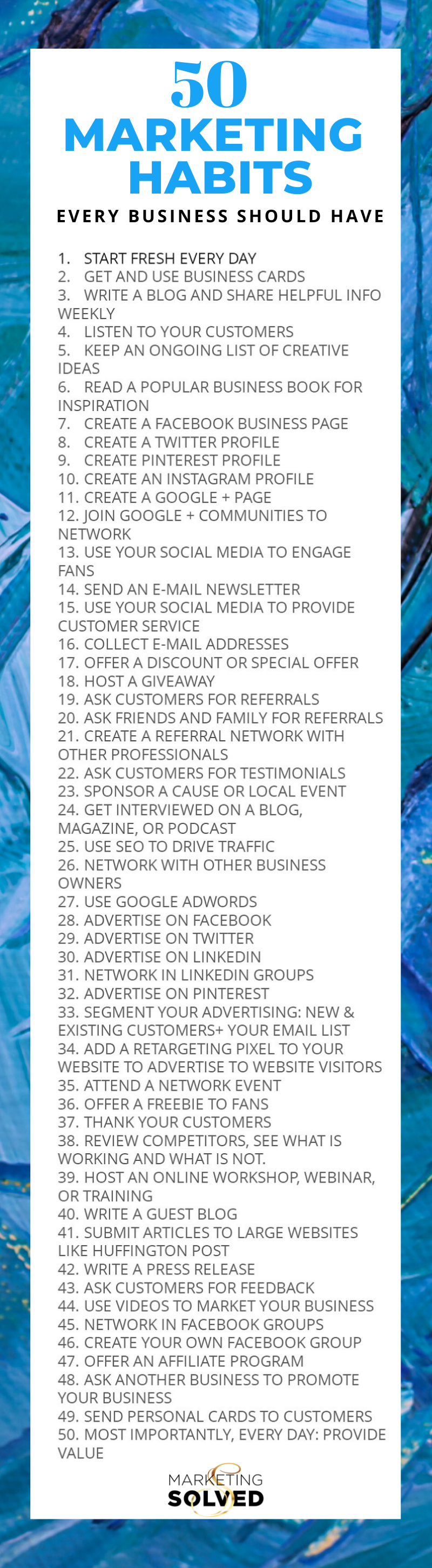 50 Marketing Habits Every Business Should Have // Marketing Ideas // Business Marketing // Marketing Tips