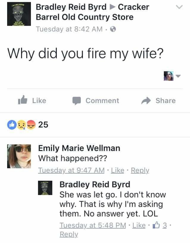 Cracker Barrel Fires Brads Wife
