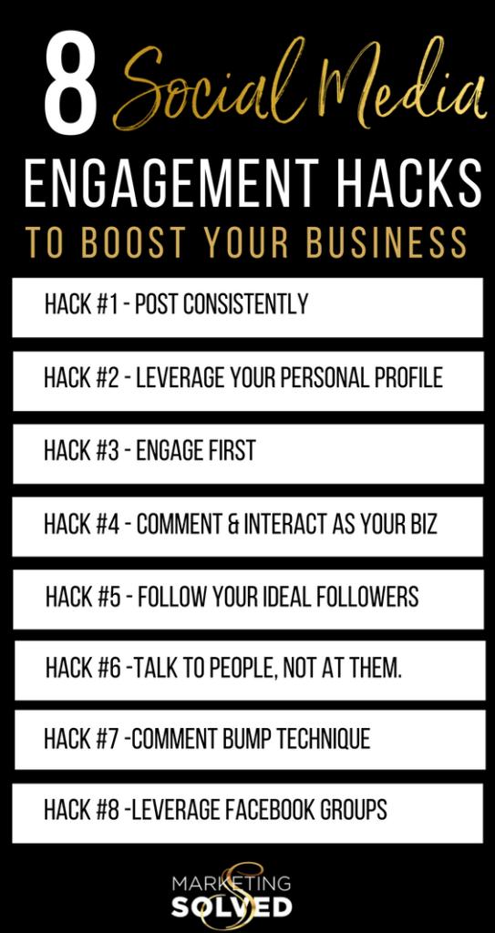 8 Social Media Engagement Hacks, Strategies & Tips to Boost Your Business 8 Social Media Engagement Hacks, Strategies & Tips to Boost Your Business// social media engagement tips // social media engagement hacks // social media engagement strategies // // Increase visibility on social media // increase reach on social media // youtube marketing channels // marketing solved// kat sullivan
