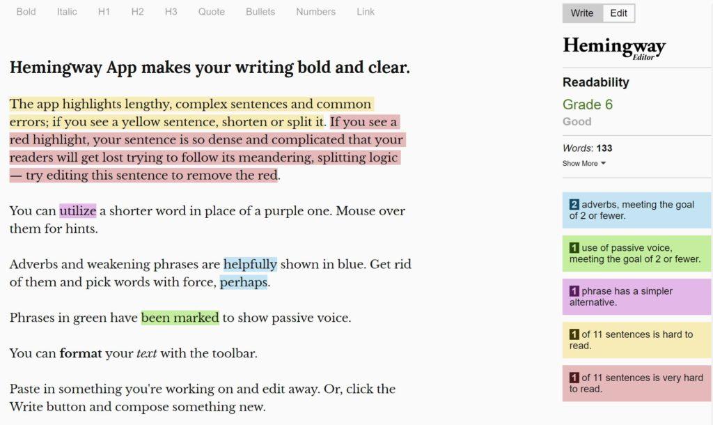 Hemingway Content Marketing Tool