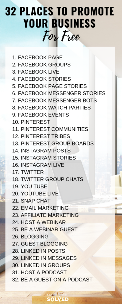 32 Places You Can Promote Your Business For Free // Marketing Ideas // Business Promotion Ideas // How to market your business // Marketing Solved