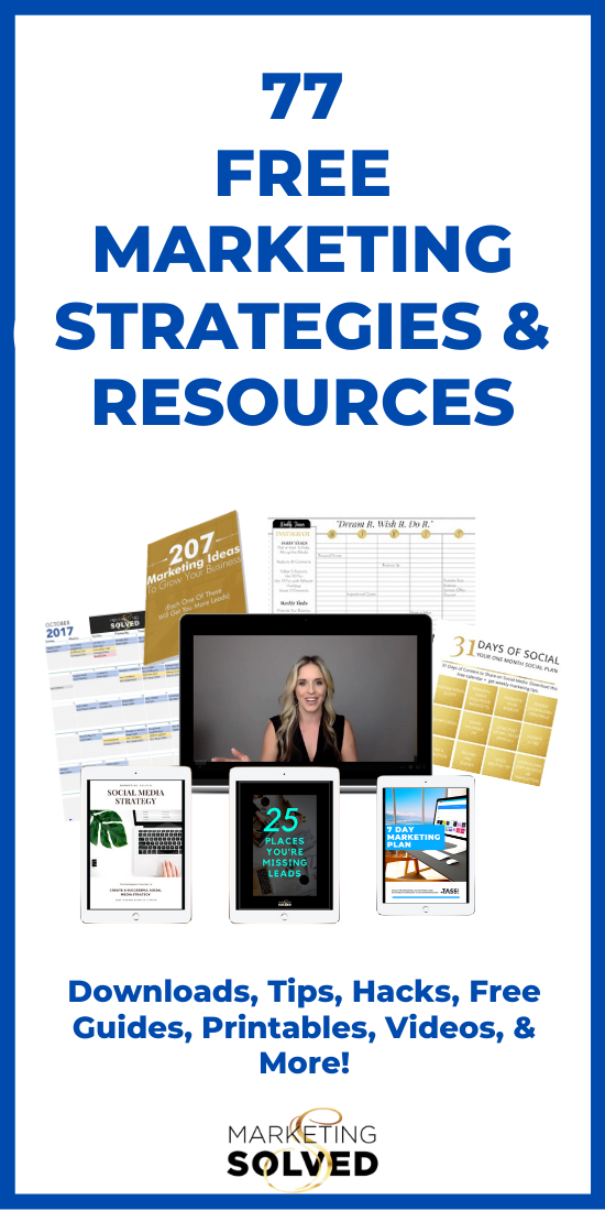 77 Small Business Marketing Strategies and Resources // Includes Social Media Printables, Marketing Hacks, Marketing Checklists, Social Media Guides, Marketing Tutorials, Videos and more. #marketing #marketingtips #marketingstrategies #socialmedia #marketing #marketingforsmallbusiness #smallbusinessmarketing #socialmediaforbusiness