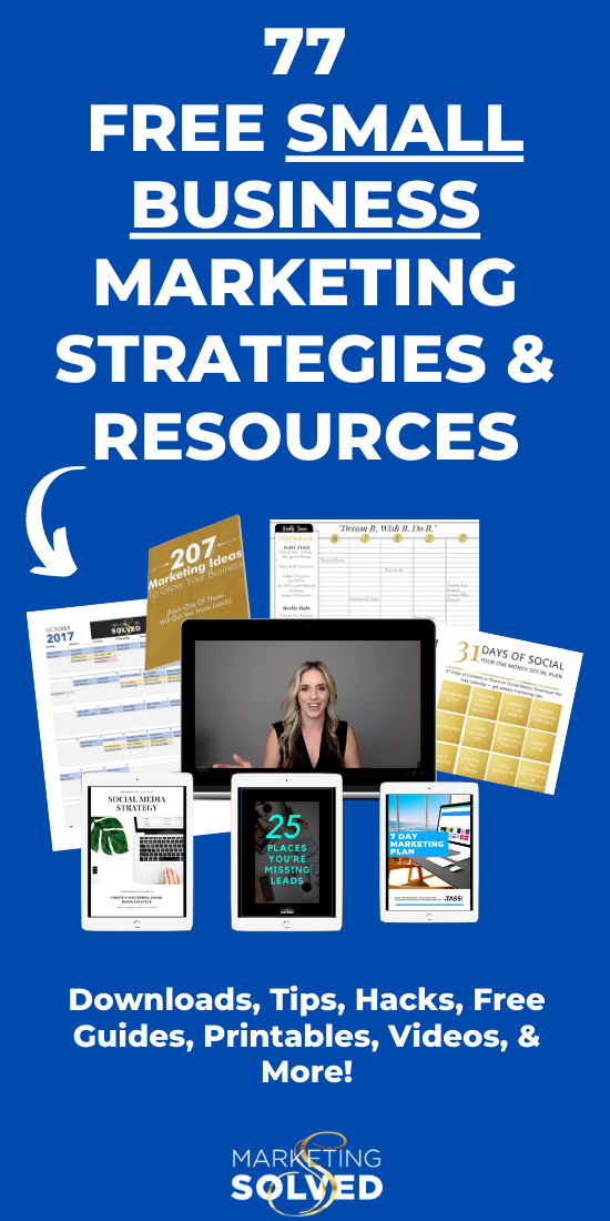 77 Free Marketing Resources. Printables, Hacks, Checklists, Guides, Tutorials, & Videos. Small Business Marketing // Social Media Marketing Tips // Social Media Printables // Free Marketing Ideas